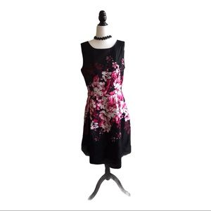 Floral Lined Sleeveless Dress - Black/Pink